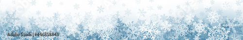 Foto Banner of complex Christmas snowflakes with seamless horizontal repetition, in gray colors
