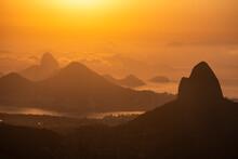 Beautiful Orange Sunrise View To Rainforest Mountains In Tijuca Park