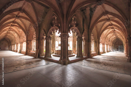 Archway of an old monastery. Cloisters of Batalha Monastery