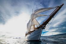 Wide Angle Image Of Sail Boat In Raja Ampat