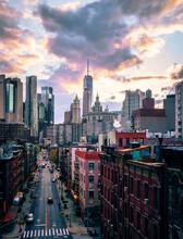 City Skyline Street Buildings New York Usa