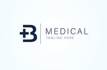 Medical Logo, Letter B With Medical Cross Combination, Flat Design Logo Template, Vector Illustration