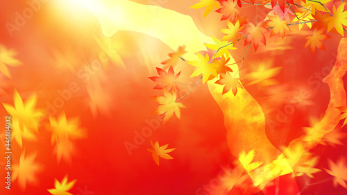 Fotografie, Obraz Asian-style background that expresses the autumn leaves