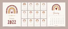 Cute Calendar 2022 With Boho Rainbow For Children. Cartoon Vector Illustration. Template In Scandinavian Style