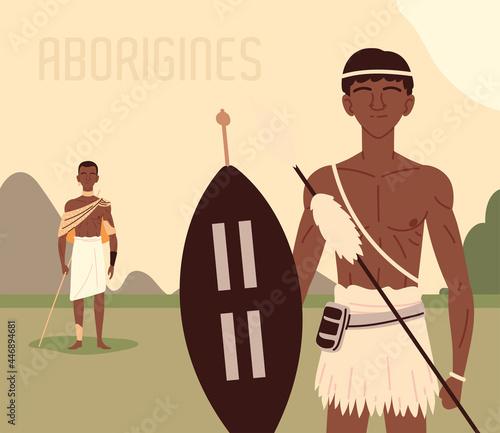 Canvas Print aborigines men in the land