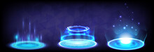 Sci-fi Digital High-tech Collection In Glowing HUD. Hologram Portal Of Science Futuristic. Magic Warp Gate In Game Fantasy. Abstract Technology. Circle Teleport Podium. GUI, UI Virtual Reality Users
