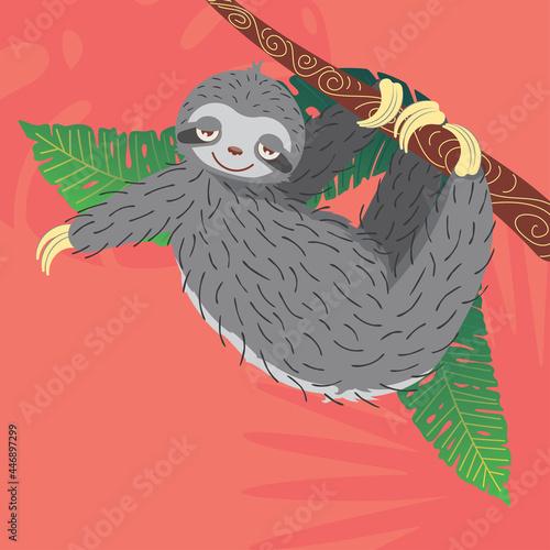 Fototapeta premium Sloth with tropical leaves