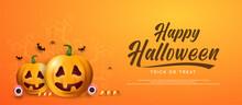 Orange Halloween Banner With Pumpkin Spider And Bats