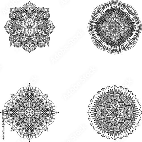 Fotografia shape, art, henna, isolated, tattoo, ornament, floral, yoga, circle, background,