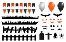 21072101 Halloween Decoration Vector Set