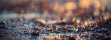 Sea Shore At Sunset, Close-up. Pebbles, Storm Waves. Abstract Background, Details Blurred In Bokeh. Blue, Yellow, Orange, Pink Colors. Soft Sunlight, Golden Hour. Peace, Meditation, Tranquility Themes