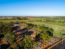 Aerial Image Of Rural Aussie Graveyard With Old Graves And New