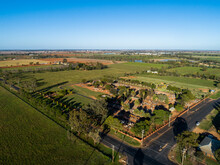 Aerial Image Of Rural Aussie Graveyard With Old Graves Cemetery Expanding Over New Green Lawn