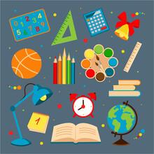 Set Of School Supplies. Back To School. Vector Illustration.