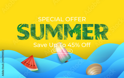 Vászonkép Summer Sale Banner With Watermelon Ice Cream Clamshell Tropical Palm Leaves