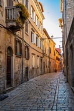 Empty Street In The Idyllic Old Town Of Rovinj