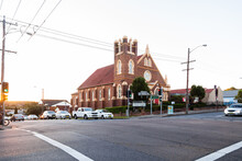 Church And Intersection With Traffic Lights On Glebe Rd, Adamstown, Newcastle
