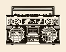 Vintage Portable Boombox Template