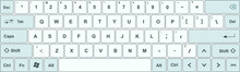 Keyboard With White And Blue-gray Keys, And All Symbols, Letters Of The Alphabet And Numbers To Type - International Design For A Vector Editable Keypad