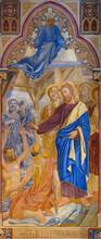 Fresco Of Jesus Healing An Invalid At The Pool Of Bethesda During A Sabbath (John 5:5). Votivkirche – Votive Church, Vienna, Austria. 2020-07-29