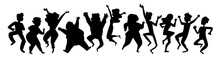 Black Silhouettes Dancing People. Group Of People Jumping Up With Raised Hands