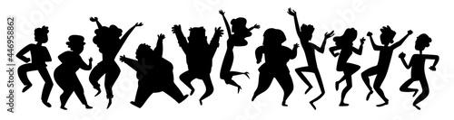 Foto Black silhouettes dancing people