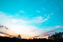 공원전경 및 하늘 그리고 석양