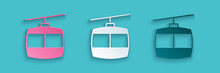 Paper Cut Cable Car Icon Isolated On Blue Background. Funicular Sign. Paper Art Style. Vector