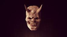 Japanese Hannya Face Mask With Horns Kyōgen Wood Carving Halloween Sculpture 3d Illustration Render