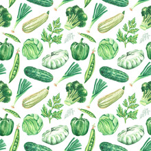 Green Vegetables And Herbs. Watercolor Seamless Pattern, Digital Paper. Broccoli, Dill, Parsley, Cucumber, Pepper, Cabbage, Zucchini, Onion, Squash, Peas. Watercolor Vegetables. For Printing