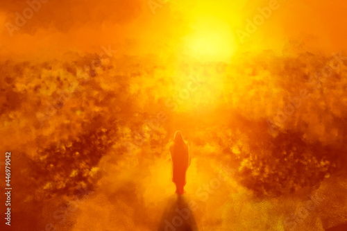 Fotografie, Obraz Illustration of Jesus standing and preaching in front of a sunset sky