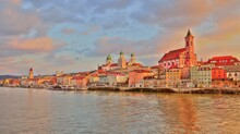Waterside Impression Of Passau, A Town In Lower Bavaria In Germany