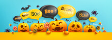 Happy Halloween Poster And Banner Template With Cute Halloween Pumpkin And Bubble Message On Top. Website Spooky,Background Or Banner Halloween Template.