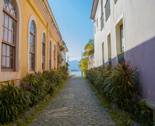 Historic Center City In The Interior Of Brazil Colorful And Rustic Old Houses On The Coast Of Antonina, Paraná, Narrow Cobblestone Street