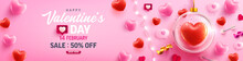 Happy Valentine's Day Sale Poster Or Banner With Sweet Heart,LED String Lights And Valentine Elements On Pink Background. Promotion And Shopping Template For Love And Valentine's Day Concept.
