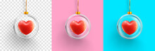 Heart In Glass Ball On Pink,blue And Transparent Background. Graphic Resources For Love And Valentine's Day Concept.vector Illustration Eps 10