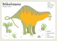 Dinosaur Fact Flash Cards - Dinosaur Names Corresponding To The English Alphabet. Cute Colorful Vector Illustration. Herbivore Set. Dinosaur Vegan. Set Cards A-z Dinosaur R. Rebbachisaurus
