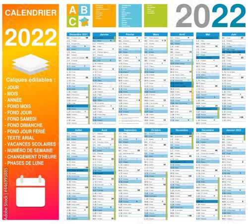 Slika na platnu Calendrier 2022 14 mois avec vacances scolaires 2021-2022 et 2022-2023 officiell