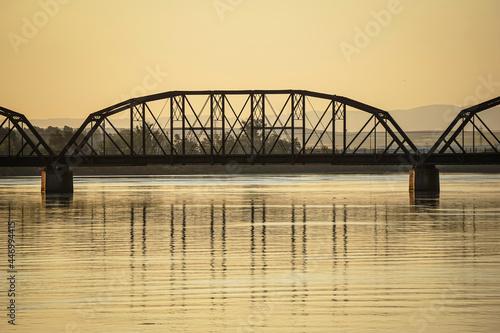 Railroad bridge over Columbia river in Washington State #446994415