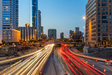 Busy Traffic On Highway Road With Blurred Cars Light Trails High Speed Road In Evening Abstraction. Chicago