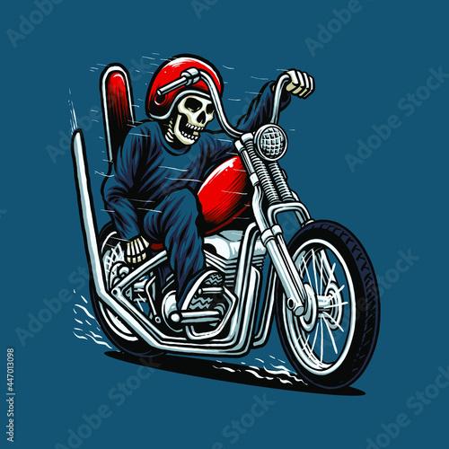 Obraz na plátně riding chopper motorcycle vector illustration