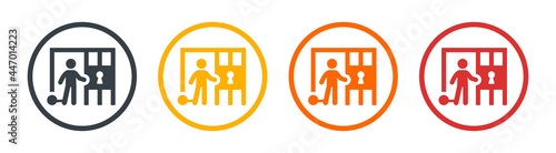Fotografering Prisoner with ball on chain in jail icon. Vector illustration