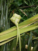 Ketupat Is A Typical Food From Indonesia Which Is Served During Eid Mubarak, Made From Coconut Leaves Stuffed With Rice