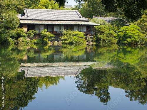 Fototapeta 満水の小浜池に映える楽寿館