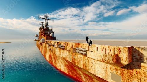 Canvastavla man at old ship
