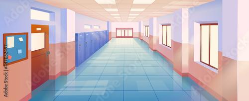 Obraz na plátně Interior school corridor with doors and lockers vector illustration