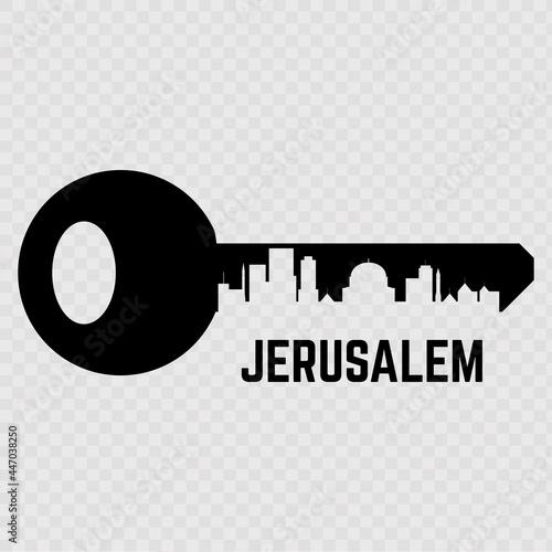 Obraz na płótnie The key with Jerusalem, Israel isolated on transparent background