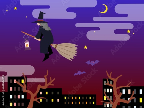 Canvas Print ハロウィンの夜空を飛ぶ魔女