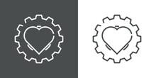 I Love Technology. Logotipo Con Engranaje Con Corazón Con Lineas En Fondo Gris Y Fondo Blanco