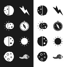 Set Compass, Eclipse Of The Sun, Lightning Bolt, Sun, Cone Meteorology Windsock Wind Vane And Moon Icon. Vector